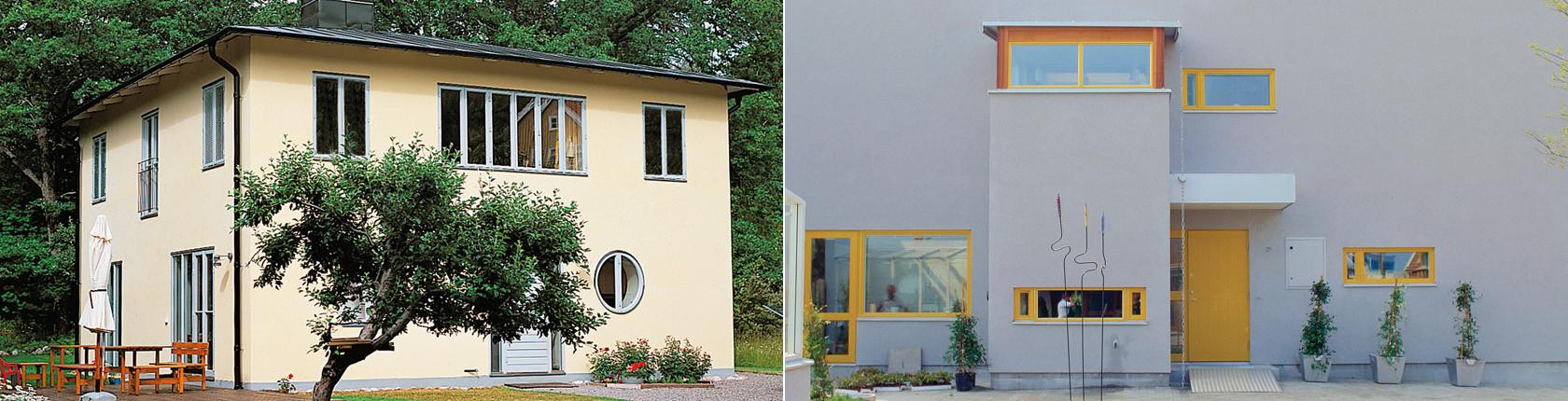 Två hus som är byggda med Ytong lättbetong från Xella.